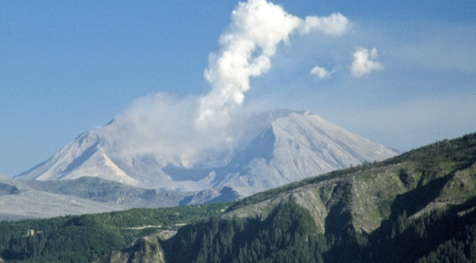 Mount St. Helens after volcanic eruption