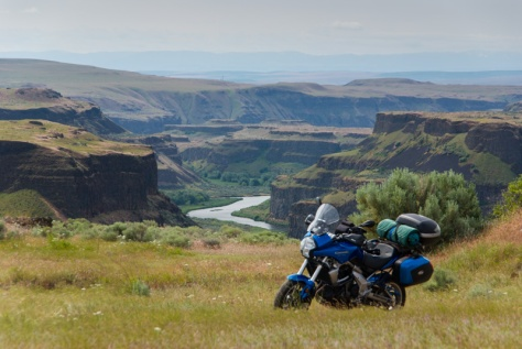 Palouse River and motorcycle with camping gear