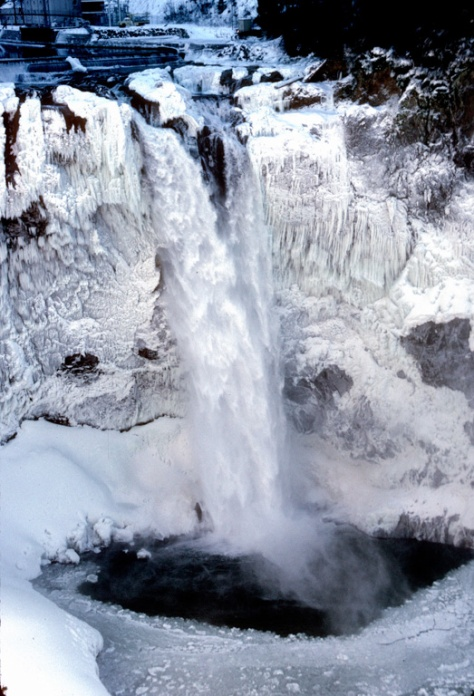 Icy Snoqualmie Falls in Winter
