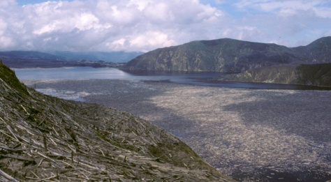 Spirit Lake after Mount St. Helens eruption