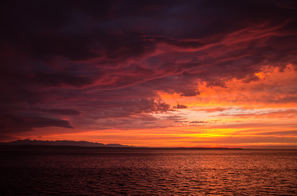 Spectacular Sunset from Edmonds, WA, Waterfront
